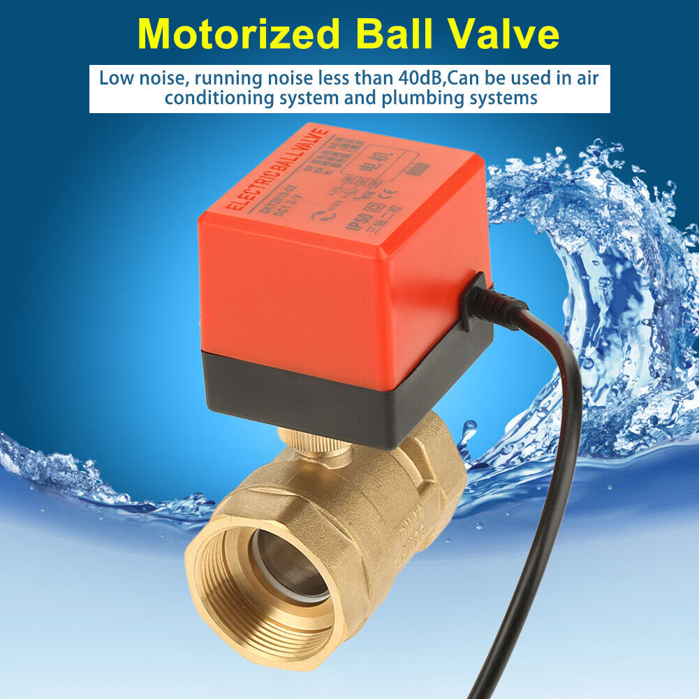 G1 Valve Connection for Air Conditioning Systems Floor Heating Systems 2-Point Brass Ball Valve 0℃-60℃ Ambient Temperature 2 Way Motorized Ball Valve