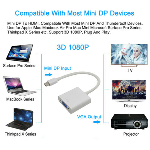 Mini Display Port DP to VGA Cable Adapter Converter fo Apple iMac Mac Hot