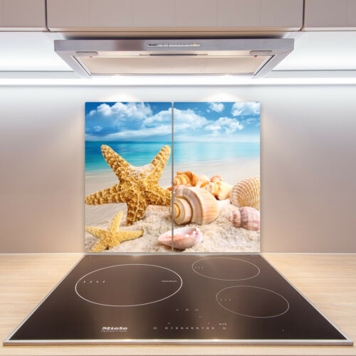 2x30x52 cm Herdabdeckplatten en verre anti-projections les étoiles de mer coquillages