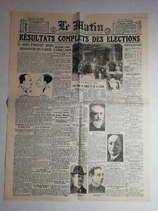 N1033-La-Une-Du-Journal-Le-Matin-15-mai-1924-resultats-complets-elections