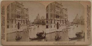 Venezia Il Grand Canal Italia Foto Stereo Vintage Albumina 1898