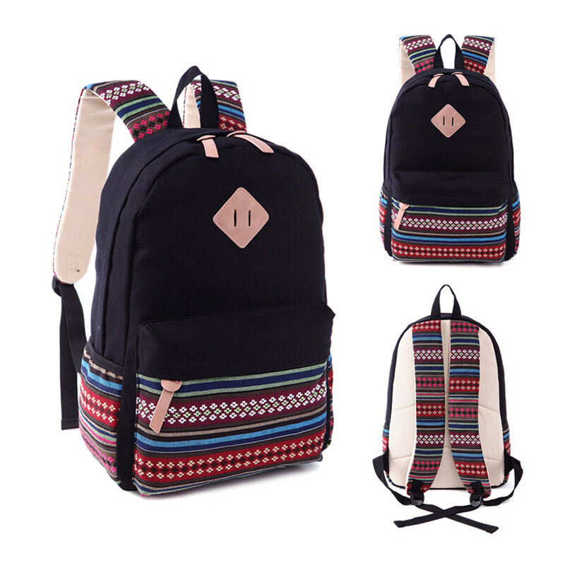 Womens Ladies Tribal Canvas Backpack Shoulder School Book Bag Travel R... - s l1600
