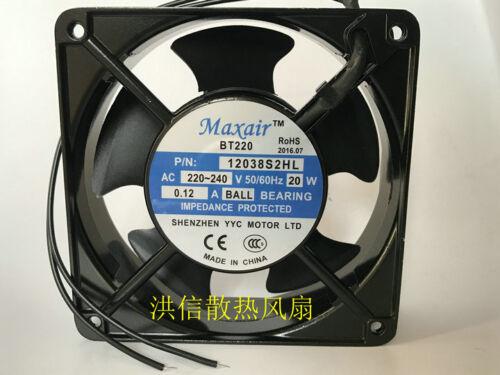 Maxair BT220 12038S2HL AC220-240V 20W 0.12A 120×38mm AC cooling fan  2-wire