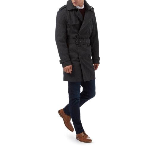 XL nuova linea uomo Charcoal grigio doppio petto button-up TRINCEA MAC Cappotto  yKib0