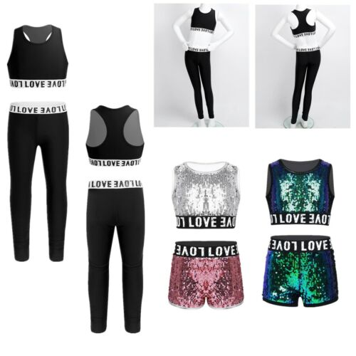 Kid Girl Athletic Outfit Ballet Dance Crop Top+Leggings Set Jazz Hip Hop Costume