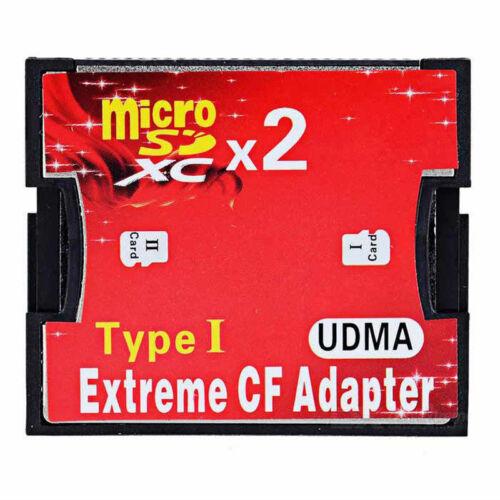 2 x Slot micro SD TF Memory Card to Compact Flash CF Type I Adaptor Converter