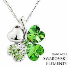 Made with Swarovski Elements Crystal Green 4 Leaf Clover Hearts Pendant Necklace