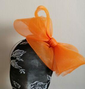 3c8537bd Image is loading Orange-fascinator-millinery-burlesque-wedding-hat -hair-piece-