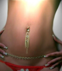 Gold Gep Cz Belly Chains Long Sexy Belly Navel Bar Ebay
