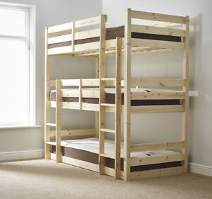 Details About Triad 3ft Single 3 Tier Heavy Duty Solid Pine Triple Sleeper Bunk Bed Eb66