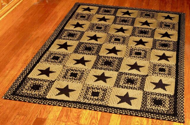Ihf Home Decor Braided Area Rug Rectangle Jute Fiber 8 X 10 Country Star Black For Sale Online
