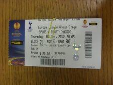 06/12/2012 Ticket: Tottenham Hotspur v Panathinaikos [Europa League] (Folded). T