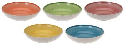 Set of 5 Bright Coloured Stoneware Cereal Bowls Soup Bowls