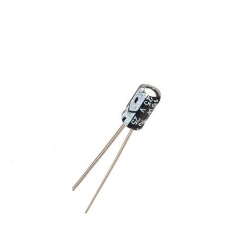20PCS Radial Lead Cylindrical Aluminium Electrolytic Capacitor 25V 10uF 4*7mm