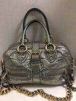 Marc Jacobs Venetia Leather silver metallic quilted Satchel $1,495 EUC