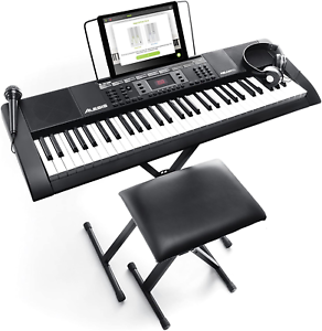 Alesis Melody Key Portable Keyboard Piano with Built In Speakers Headphone/& Mic
