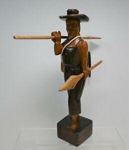Vintage Central American Folk Art Hondruas Wood Carved Fisherman Sculpture