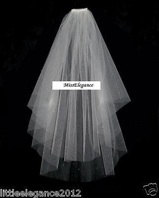 White Ivory Bridal-Veil 2 Tier Wedding-Veil Communion Veil Cut edge Diamante