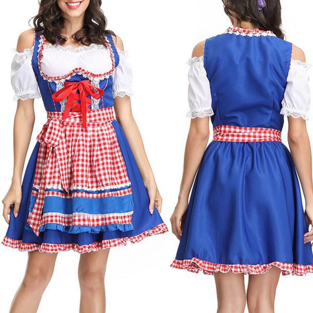 Oktoberfest Trachtenkleid Damen Kleid mit Bluse Schürze Kurzarm Festkleid Dirndl