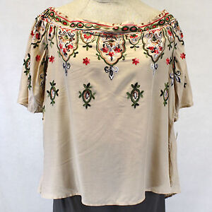 d662f2e64aa New Democracy Plus Size Embroidered Floral Peasant Top Off Shoulders ...