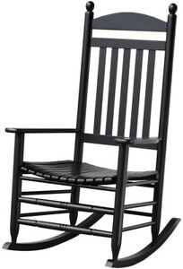 Image Is Loading Black Outdoor Rocking Chair Patio Porch Solid Wood
