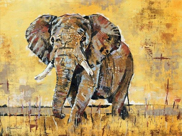 Madelaine Morris  Safari Elephant Fertig-Bild 50x70 Wandbild Elefant modern