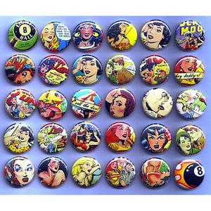 RETRO-ROCKABILLY-COMICS-BADGES-x-30-Buttons-Wholesale-Lot-25mm-One-Inch-1-034