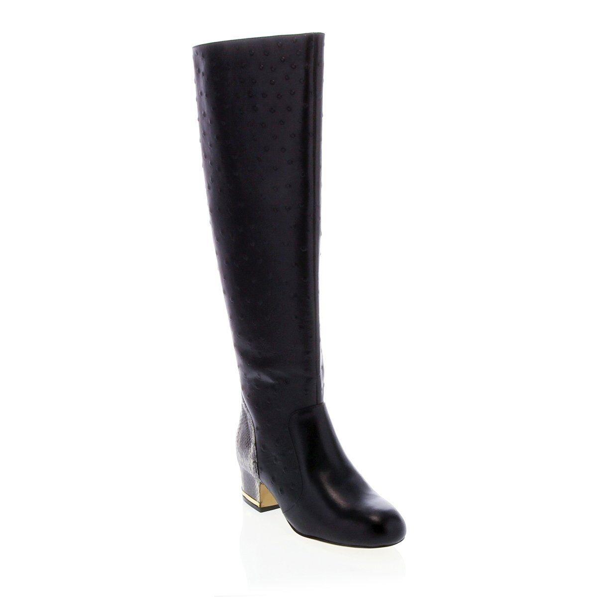 Deesigns Ostrich Embossed Leder Tall Boot 282232