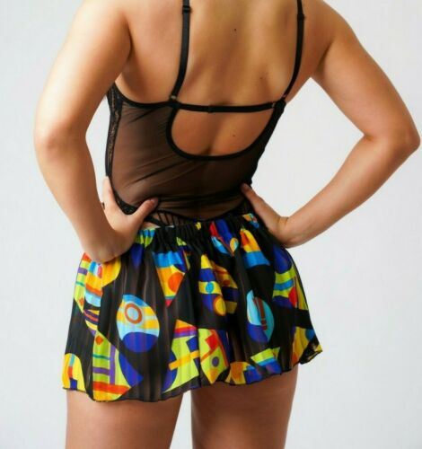 Black Sheer Mini Skirt Women/'s Elasticated High Waist Short Printed See through