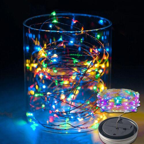 Solar Power 1//2M LED Fairy Light Garden Deck Party Mason Jar Lid Night Lights