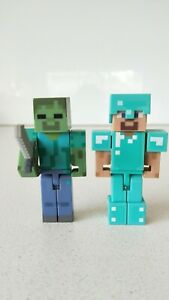 Minecraft-Set-of-2-Diamond-Steve-amp-Zombie-Action-Figures-New-without-Box
