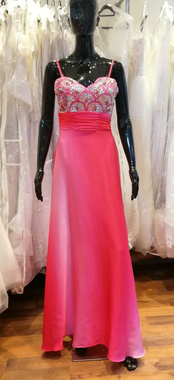 Quality Hot Pink Crystal Evening Prom Dress Size 8 New Condition Excellent Price