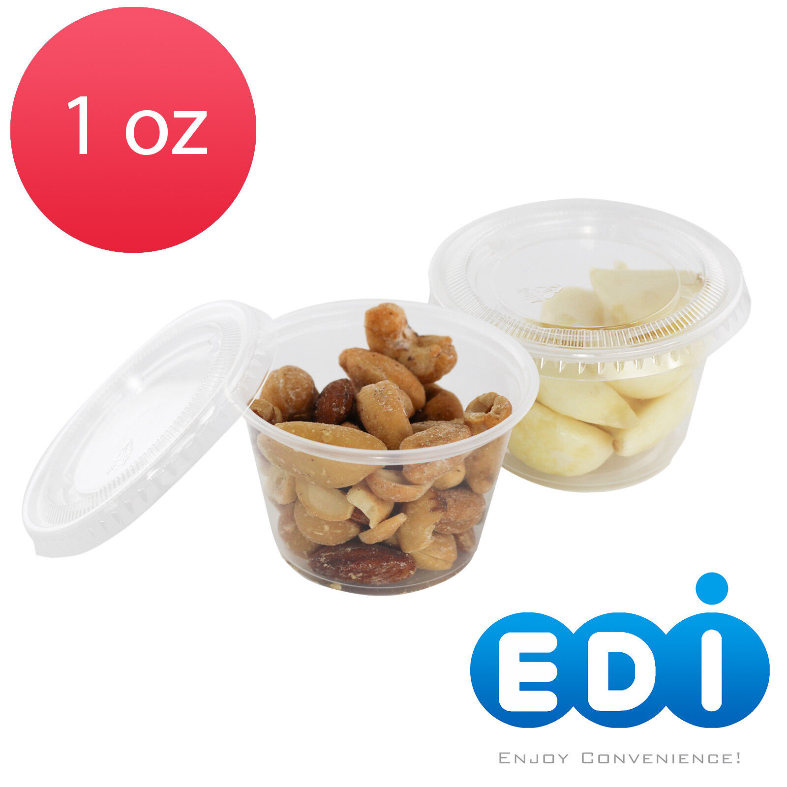 EDI 1oz Clear Plastic Jello Jelly Shot Portion Cups with Lids 100 Sets Per Bag