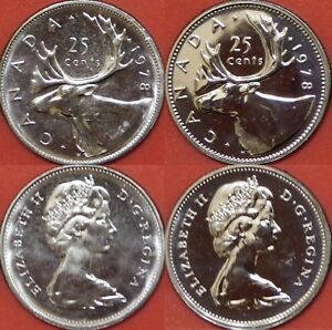 1978 CANADA 25¢ SMALL DENTICLES TYPE BRILLIANT UNCIRCULATED QUARTER