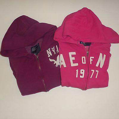 Women's American Eagle Vintage Distressed Hoodie Sweatshirt Lot XL Pink & Purple