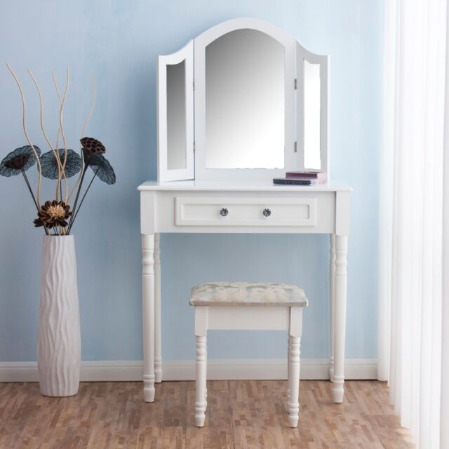 Ctf Dressing Table Makeup Dresser Set With Triple Mirros Stool