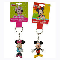 2pc Disney Mickey Mouse & Minnie 3d Figurine Keychain Key Chain Party Favor Gift
