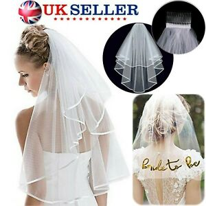 New UK Veil Comb White With Gold Bride to Be Hen Night Wedding Party Accessories