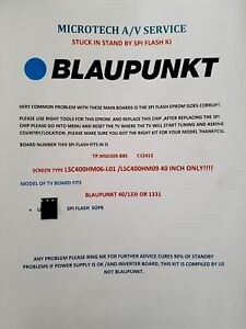 Details about BLAUPUNKT 40/133I TP MSD309 B85 C12415 EPROM REPAIR KIT READ  ADVERT