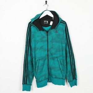 Vintage-ADIDAS-Small-Logo-Zip-Up-Hoodie-Sweatshirt-Green-Medium-M