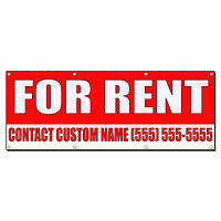 For Rent Custom Name Phone Number Red Banner Sign 2 Ft X 4 Ft W/4 Grommets