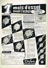 D- Publicité Advertising 1959 Les Montres Difor