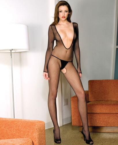 New Women/'s Fishnet Long Sleeved Crotchless Bodystocking Music Legs 1089 Black