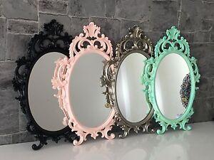 Espejo-de-pared-Ovalado-Barroco-Oro-Plata-Negro-Blanco-43x28cm-antiguo-Shabby