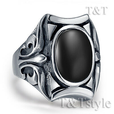 Quality TTstyle 316L Stainless Steel Ring With Oval Black Onyx Stone Size 7-13