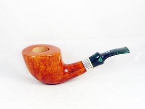 PIPA STEFANO SANTAMBROGIO RADICA liscia FP silver Tobacco Pipe pipa 9mm pfeife
