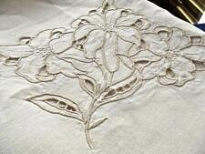 Antique Linen Banquet 64x108 Tablecloth Madeira Cutwork Richelieu Large Lilies