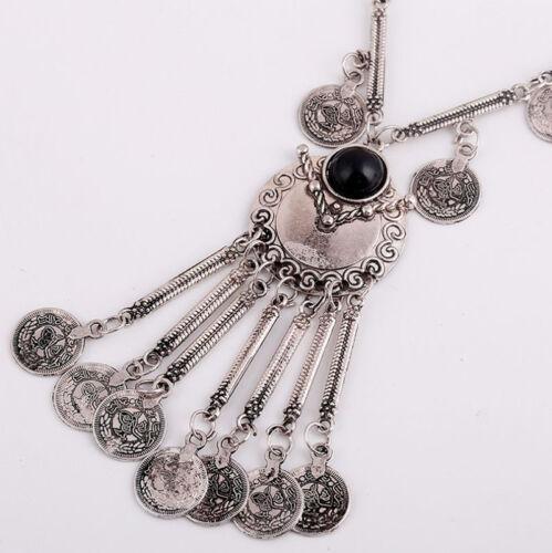 Mode Bohemian Gypsy Boho Silber Münze Lange Kette Quaste Anhänger Halskette NAB