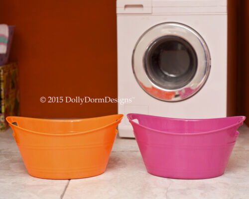 Red LAUNDRY BASKET WASH TUB for American Girl Doll House Pet Shop Accessories