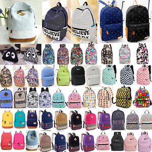 Women-Men-Canvas-Backpack-Rucksack-School-Satchel-Travel-Hiking-Book-Laptop-Bag